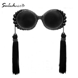 Wholesale Tassel Sunglasses - Wholesale-2016 fashion retro tassel baroque pearl sunglasses women's personalized beach rhinestone vintage circle big sun glasses female
