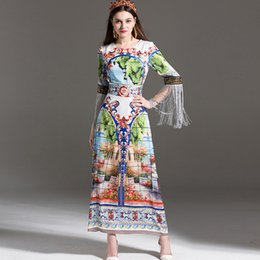 Wholesale Loose Midi Dress Sleeves - High Quality New Arrival 2017 Women's O Neck 3 4 Sleeves Patters Printed Tassel Detailings Loose Desigh Elegant Long Runway Dresses