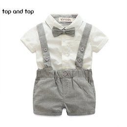 Wholesale England Suspenders - 2017 summer style baby boy clothing set newborn infant clothing 2pcs short sleeve t-shirt + suspender gentleman suit