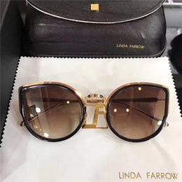 Wholesale Linda Farrow - 2017 new sunglasses linda farrow plastic with metal frame fashion cat model lady sunglasses in DHgate free shipping
