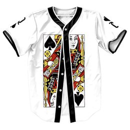 Wholesale Funny Jerseys - Wholesale- Queen of Spades Jersey Summer Style with buttons 3d print Hip Hop Men's shirts funny tops baseball shirt fashion top tees