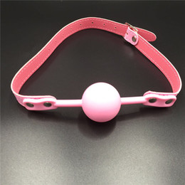 Wholesale Sex Mouth Gear - Pink silicone ball gag leather bondage harness bdsm toys bondage gear mouth gags sex toy for couples