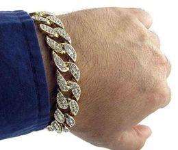 Wholesale 24k Gold Plated Bangles - Hot! New Hip Hop Men's Luxury Simulated Diamond Fashion Bracelets & Bangles High Quality 24K Gold Plated Iced Out Miami Cuban Bracelet
