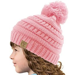 91661bfb6b0 girls slouchy beanies 2019 - CC Beanie Kids Knitted Hats Kids Chunky Skull  Caps Winter Cable