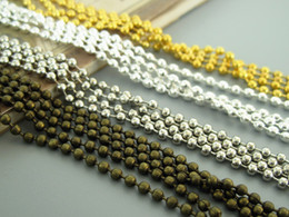 Wholesale Silver Plated Chains Findings Necklace - 10M 2.4mm bead chains, 4 colors available bronze, gold, silver, Bradde Chain, ball Chain Necklaces Jewelry finding