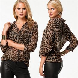 Wholesale Leopard Silk Chiffon Shirt - Fashion Sexy Women Chiffon Shirt Leopard Print Semi-sheer Blouse Long Sleeve Loose Casual Top Brown Wild