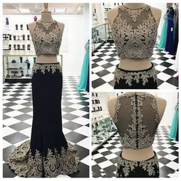 Wholesale Ladies Two Piece Evening Dresses - Black Mermaid Two Piece Prom Dresses Sheer Neck Gold Lace Appliques Crystals Beaded Evening Party Ladies Gowns Back Long Sweep Train Custom