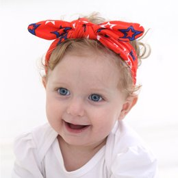 Wholesale American Stick Flags - Children American Flag Headband Knotted Rabbit Ear Hair Band Hair Accessories Lovely Baby Girls Europe and America Style Headband