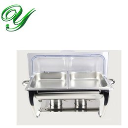 Wholesale Dining Tray - Stainless steel Buffet heater Chafing Dish hotpot holder 9L basin clear visible flip lid wedding Banquet cooking pan server Food Tray Warmer