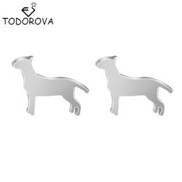 Wholesale Vintage Jade Earrings - Todorova 10pcs Cute Small Bull Terrier Dogs Animal Charm Stud Earrings Ear Piercing for Women Girls Jewelry Vintage Accessories