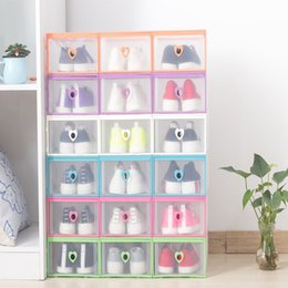 Wholesale Transparent Shoe Storage Boxes Wholesale - Drawer Type Transparent Shoe Box Thickening Plastic Wrapping Storage Box Stackable Foldable Cost Effective Rectangle Bins Hot Sell 5qj J R