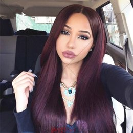 Wholesale Long Dark Red Hair - 99j lace wig 100% virgin human hair lace front wigs red full lace wig 99j silky straight for black women