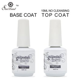 Wholesale uv polish set - Wholesale-2Pcs Brand Saviland 15ml gelpolish gel nail polish soak off nail glue base coat + top coat Set for nails with UV lamp nail gel