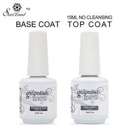 Wholesale Top Coats Nails - Wholesale-2Pcs Brand Saviland 15ml gelpolish gel nail polish soak off nail glue base coat + top coat Set for nails with UV lamp nail gel