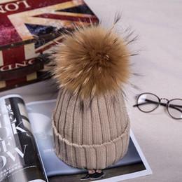 Wholesale Raccoon Hair - hot sale beanie skull caps hats Autumn winter women 18cm raccoon hair ball knitted Hat wool hat