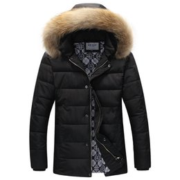 Wholesale Puffer Jacket Fur Hood - Wholesale- Brand Parka Men Homme 2015 Fashion Big Fur Hooded Design Men's Slim Fit Cotton Down Puffer Jacket Casual Stylish Coat Male 3XL