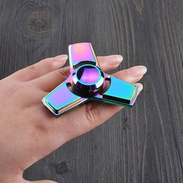 Wholesale wooden desk box - Metal Colorful EDC Hand Spinner Tri triangle Fidget Spinner Rainbow Handspinner Decompression Anxiety Funny Finger Desk Toy With Retail Box