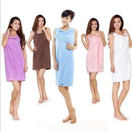 Wholesale Shower Robes - Magic Bath Towels Lady Girls SPA Shower Towel Body Wrap Bath Robe Bathrobe Beach Dress Wearable Magic Towel 6 colors 200 PCS