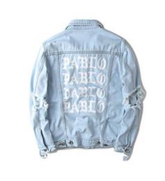 Wholesale Formal Coats Men - palace I Feel Like Pablo Costume Denim Jacket Yeezus Season 3 Kanye West Pablo Jacket Jeans Coat Hip Hop Paul Military Sudaderas Mujer