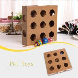 Продукт игрушка дерево онлайн-Творческий Cat поставляет Cat игрушки экологически чистые деревянные игрушки для кошек 3 красочные шары 1 мышь Cat обучение продукты