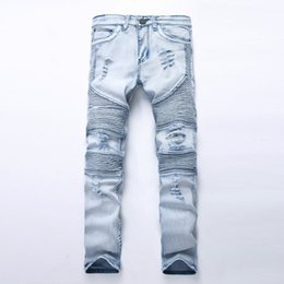 Wholesale Stretch Light - Wholesale-New Fashion Men jeans Washed Light blue Moto Denim Pants Ripped Rider Biker Jeans Motorcycle Hip Hop For Skinny Stretch Hip Hop