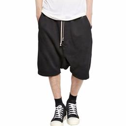 Wholesale Mens Stage Clothing - 2017 Newest Black Shorts Kanye West Cool Sweatpants Mens Jumpsuit HIPHOP Rock Stage Urban Clothing Owens Dress Sweatpants