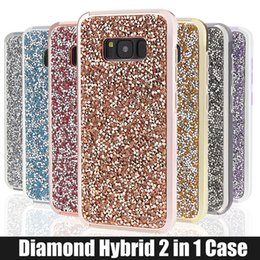 Wholesale Diamond Galaxy Case - for iPhone 5 6 6s 7 7plus Samsung Galaxy s8 s8 plus Case Glitter Hybrid 2 in 1 rhinestone cases Bling bling Luxury Diamond Phone Cover