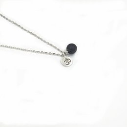 Wholesale Aroma Necklaces - Nature Lava Stone Yoga Charm Aroma Perfume Minimalist Boho Essential Oil Diffuser Necklace