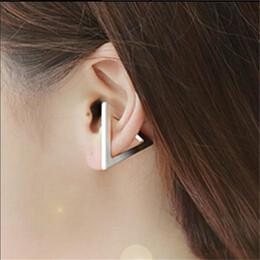 Wholesale 14k Gold Pierced Earrings - 3 Color Hot Sale Gold Triangle Support Piercing triangle Ear Stud Earrings For Women Bijoux Brincos jl-486