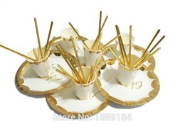Wholesale metal dinner plates wholesale - Wholesale- Free Shipping 57pcs Foil Gold Paper Tableware Celebrate Supply Paper Plates Cups Straws for Family Dinner Wedding Bridal Shower