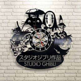 Classiques vinyle en Ligne-Atch titanic 2017 Nouveau CD Vinyl Record Wall Clock Modern Spirited Away Studio Ghibli Anime Wall Watch Home Decor Classic Clock Relogio Par ...