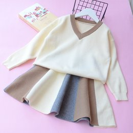 Wholesale Knitted Long Skirt - Baby Autumn Knit Outfits Baby Girl V-neck Jumper Pullover with Panelled Knitting Skirts 2017 Kids Fashion Sets girls clothing