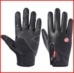 Wholesale Active Bikes - Black Windproof Gloves Synthetic Leather Waterproof WindStopper Soft & Warm Winter Outdoor Gloves M L XL Hiking Bike Sports out231