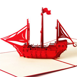 """Origami para presente de aniversário on-line-O Criativo """"Barco À Vela"""" Artesanal Kirigami Origami 3D Pop Up Cartões Para Presente de Aniversário frete grátis"""