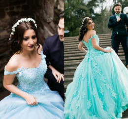Wholesale Charming Quinceanera Dresses Ball Gown - Charming Ball Gown Prom Dresses Off Shoulder Appliques Lace Tulle Corset Lace Up Backless Quinceanera Dresses Mint Sweet 16 Dresses
