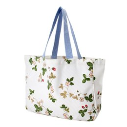 Wholesale Artistic Fashion Style - Fashion Bags Free Shipping Floral Small Fresh Artistic Shoulder Canvas Shopping Bag Eco Girl Student Bag