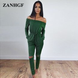 969808013f38 Wholesale- Long Pants Fashion Sexy Jumpsuits Womens Sashes Solid Silm Jump  Suits Off the Shoulder Hole Pocket Jumpsuit Female P205