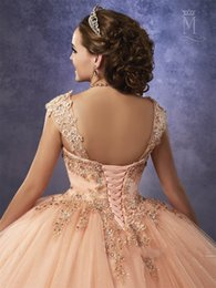Wholesale Gold Peach Sequin Dress - Sparkling Tulle Quinceanera Dresses 2018 Mary's with Detachable Straps and Basque Waist Peach Sweet 16 Dress Lace Up Back
