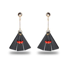 Wholesale Tassels Red Color - 2017 National Wind Stud Earrings Fanshaped Bohemian Long Model Tassels High Grade Earrings Dainty Solid Color Jewelry For Girls women
