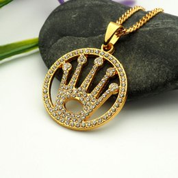 Wholesale Crown Pendant Men - crystal crown round pendant necklace hip hop gold plated necklaces with chain jewelry for men or women item number hps039