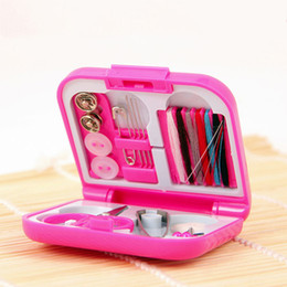 Wholesale Wholesale Sewing Boxes - Portable Travel Sewing Kits Box Needle Threads Scissor Thimble Home Tools free shipping