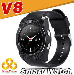 Wholesale Google Android Watches - V8 Smart Watch Bluetooth Watches Android with 0.3M Camera MTK6261D Smartwatch for android phone Micro Sim TF card DZ09 A1 Q18Facebook Google