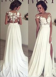 Wholesale Wedding Dress Shorter Front - 2017 Summer Bohemian Chiffon Wedding Dresses Cheap Sheer Crew Neck Lace Appliques High Spplit Hollow Back Boho Beach Long Bridal Gowns