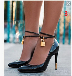 Wholesale American Mints - 2017 European and American style new black padlock high heels simple single shoe Sexy high heels