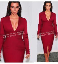 Kim vestidos negros bodycon online-2017 otoño kim kardashian mismo vestido de un paso de manga larga con cuello en v dividida sexy bodycon dress rojo negro