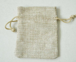 Wholesale Wedding Gifts Bags - 7*9CM Linen Drawstring Bags Double Layer Natural Jute Gift Package Wedding Favor Holder Burlap Pouches Mobile Power Sack Bags