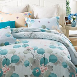 Wholesale Comforter Sets 5pc - Pastoral Style Flower 100% Cotton Light Blue Bedspread Full Queen Size Bedding Sets Girls Teens Adults Bedroom Decor 4 5PC 400TC
