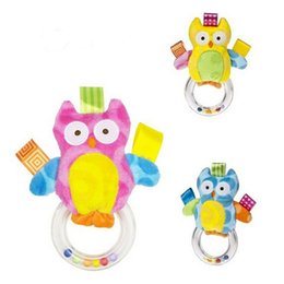 Wholesale Animal Shake - Wholesale- New 1pcs Baby Toys Baby kids owl Rattle Bells Shaking Dumbells Early Development Toys Baby Rattles toys