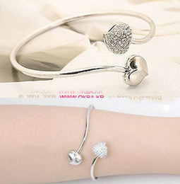 Offene armbänder armbänder online-Fashion Statement Schmuck Großhandel Lucky Heart Design Edelstahl Twisted Cable Armreif Womens Open End Armband Manschette