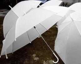 Wholesale Bridal Party Umbrellas - Bridal Shower Wedding White Nylon Umbrella Parasol Waterproof Long handle Rainy Umbrellas Fashion Hot party wedding decoration favors